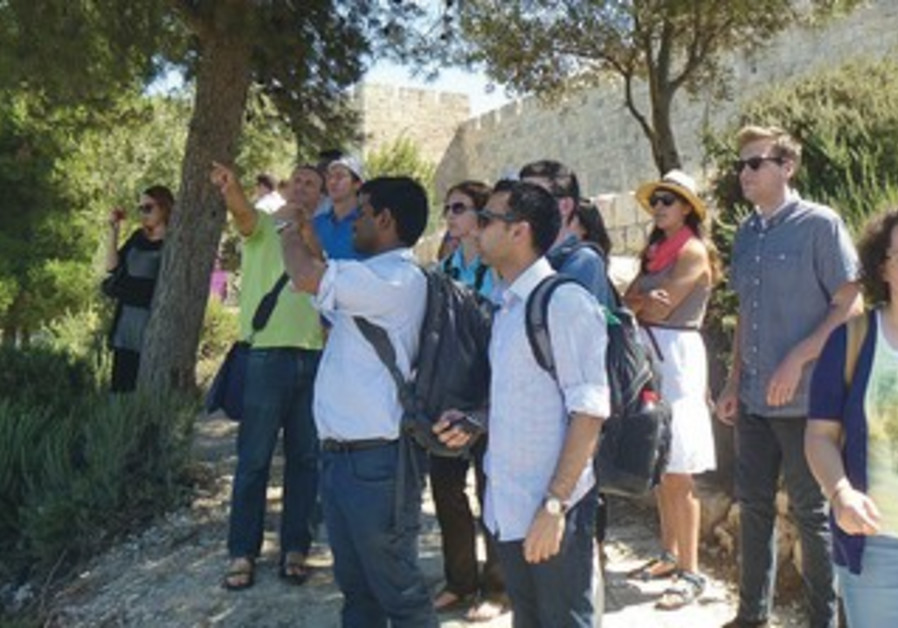 MEMBERS OF the Campus Leaders Mission to Israel tour near the Old City in Jerusalem.