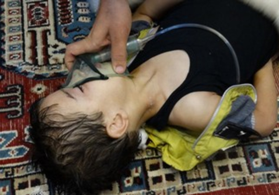 Boy allegedly affected by chemical weapons in Syria, August 21