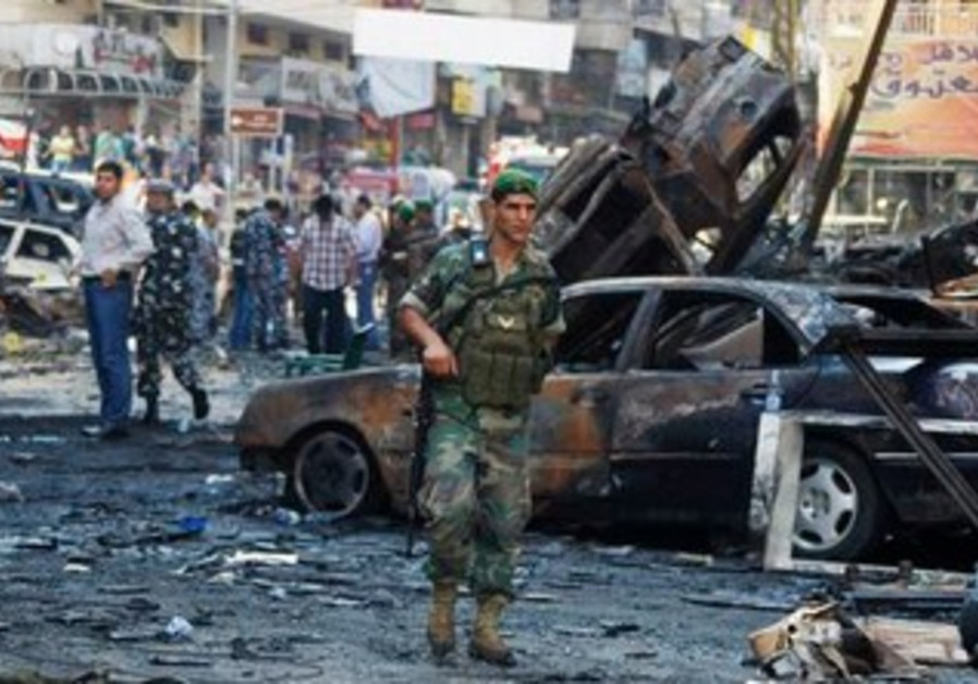 Lebanese soldier at blast site [file].