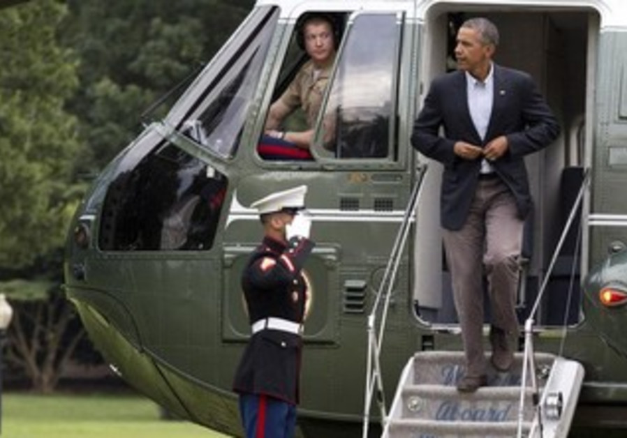 President Obama deplanes Marine One in Washington
