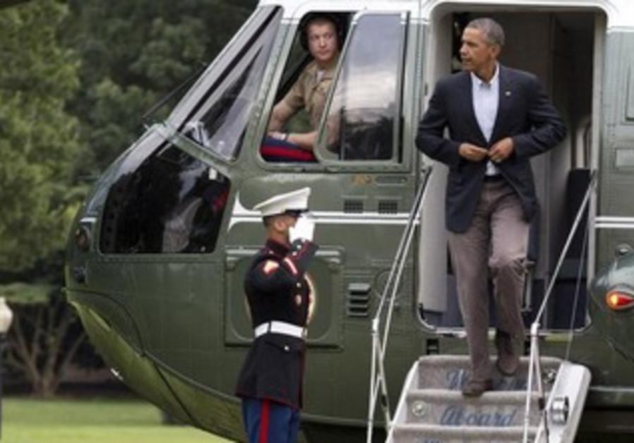 President Obama deplanes Marine One in Washington