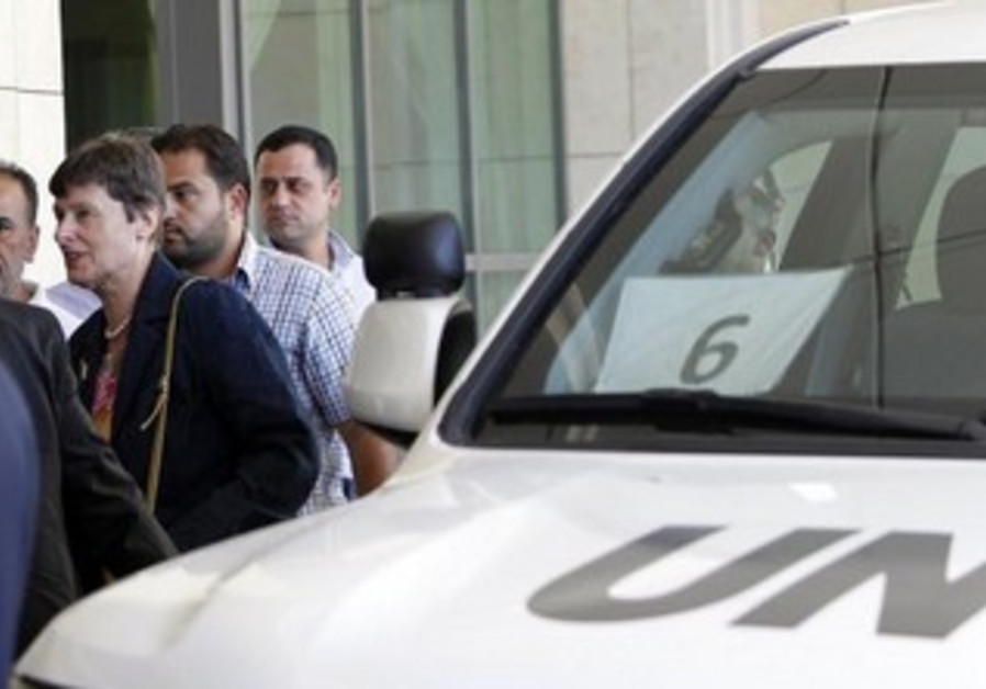 UN High Representative for Disarmament Affairs Angela Kane (2nd L) arrives in Damascus.