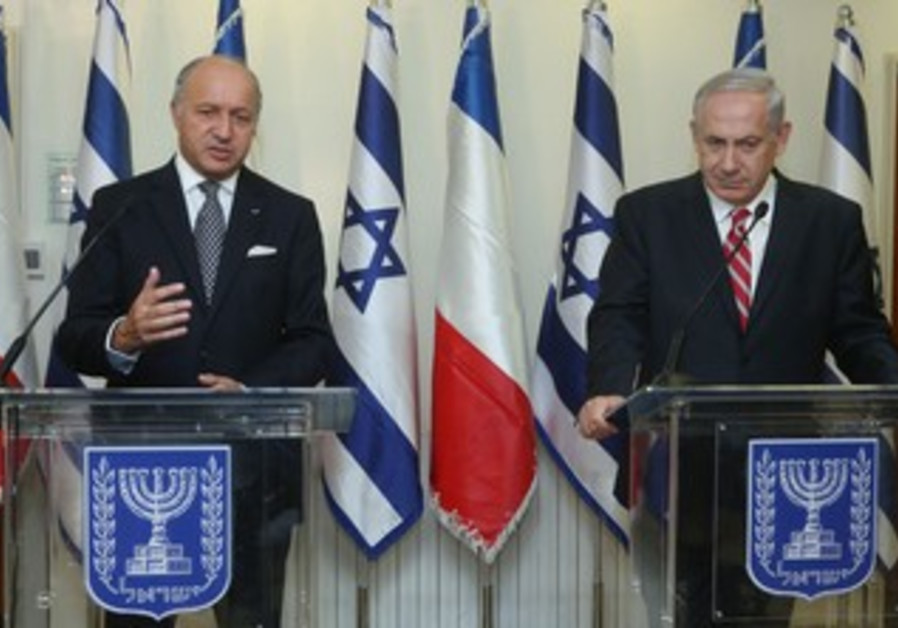 French Minister of Foreign Affairs Laurent Fabius meets with PM Binyamin Netanyahu.