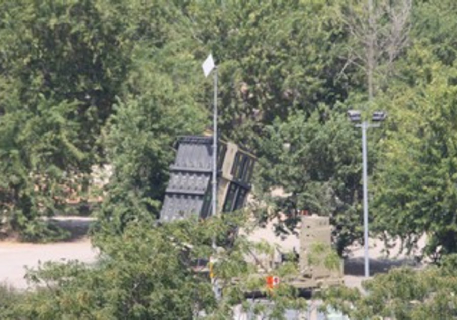 Iron Dome battery deployed in Gush Dan region of central Israel, August 30, 2013