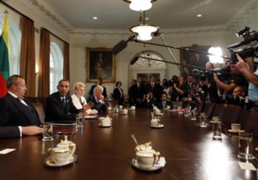 US President Barack Obama in Cabinet Room of White House, August 30, 2013