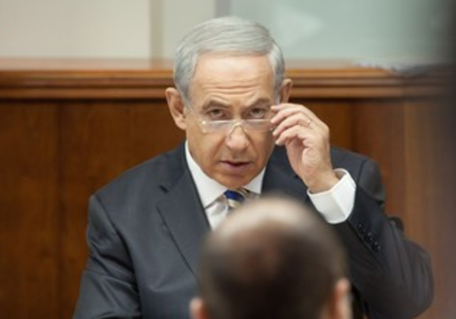 Prime Minister Binyamin Netanyahu attends the weekly cabinet meeting in Jerusalem, Sept. 1, 2013.
