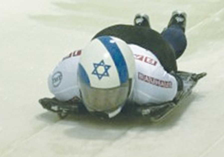 Bradley Chalupski, representing Israel, starts down the track at the men's world championships.