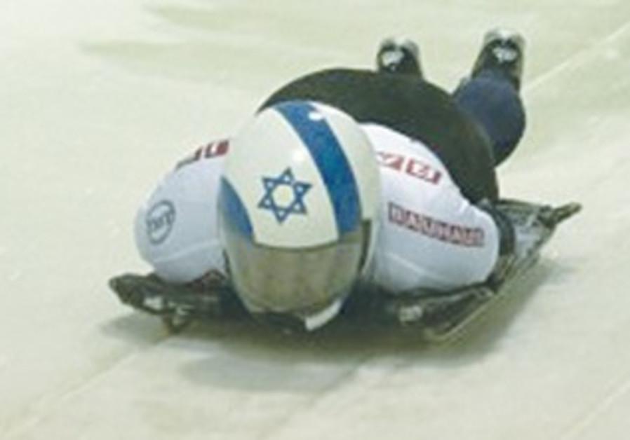 Bradley Chalupski, representing Israel, starts down the track at the men's world championships.