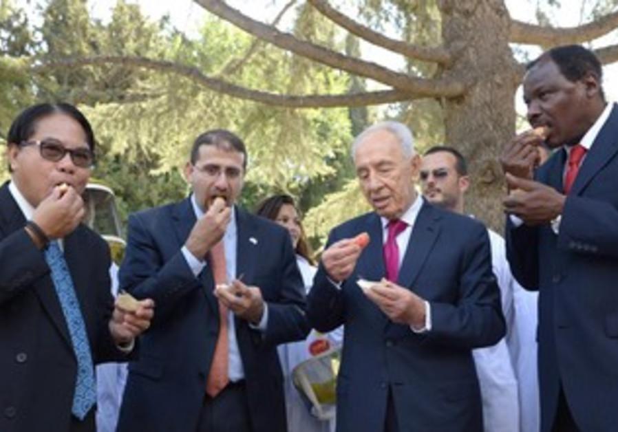 President Shimon Peres with envoys at Rosh Hashana ceremony