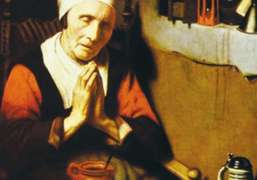 'OLD WOMAN at Prayer' by Rembrandt's most celebrated student, master painter Nicolaes Maes (1634-169
