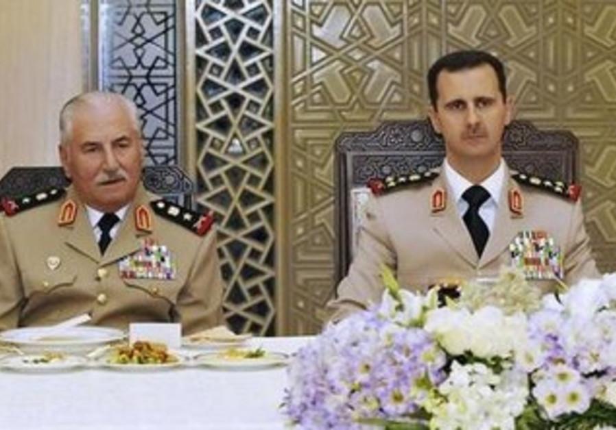 Syrian President Bashar Assad with former Syrian defense minister General Ali Habib, August 1, 2010.