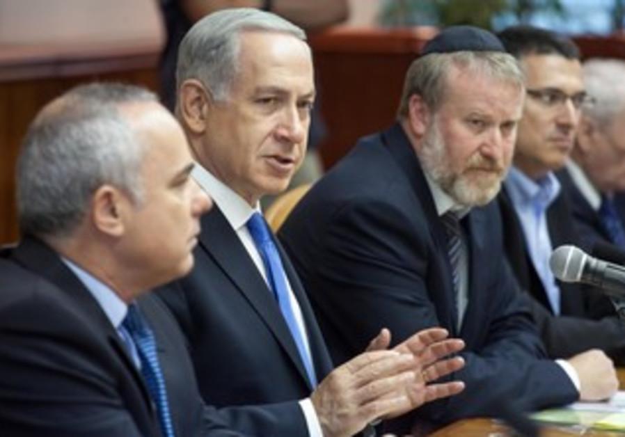 Prime Minister Binyamin Netanyahu at cabinet meeting