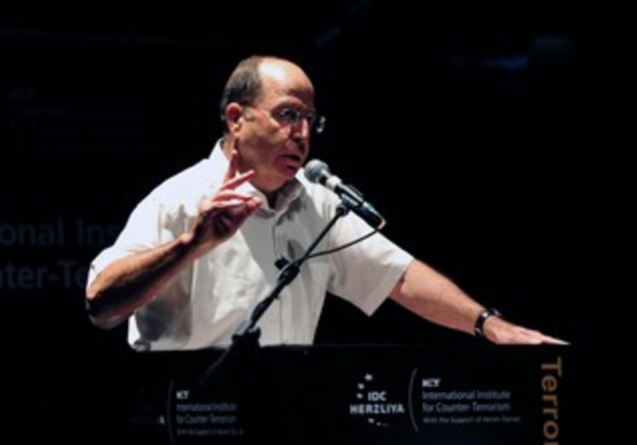 Defense Minister Moshe Ya'alon speaks at counterterrorism conference, Sept 8