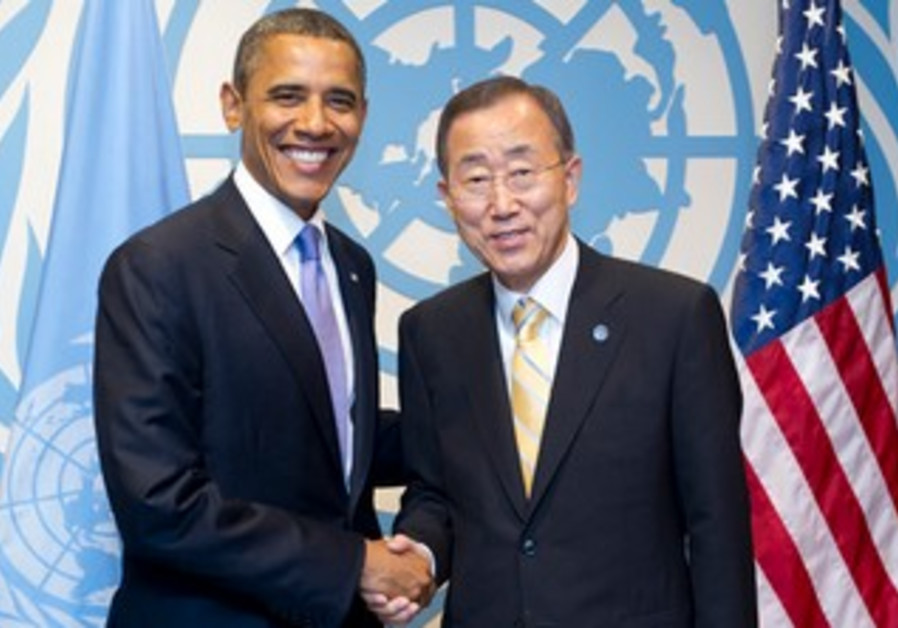 Secretary-General Ban Ki-moon with US President Barack Obama at UN Headquarters