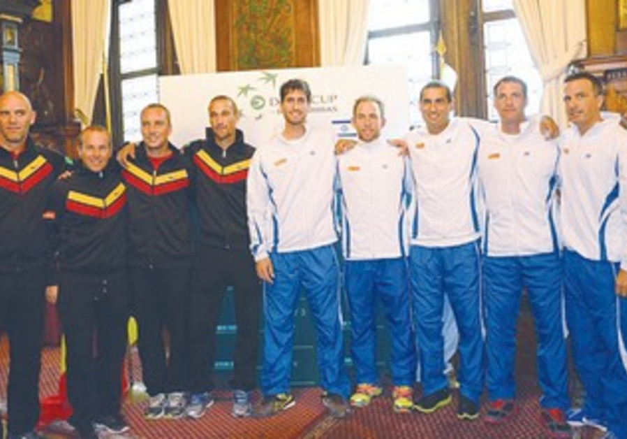 ISRAEL'S AND BELGIUM'S squads.
