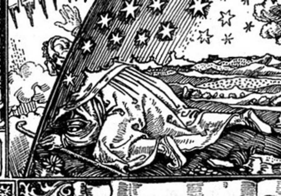 Wood engraving of man urinating, the spray going beyond earth's edge.