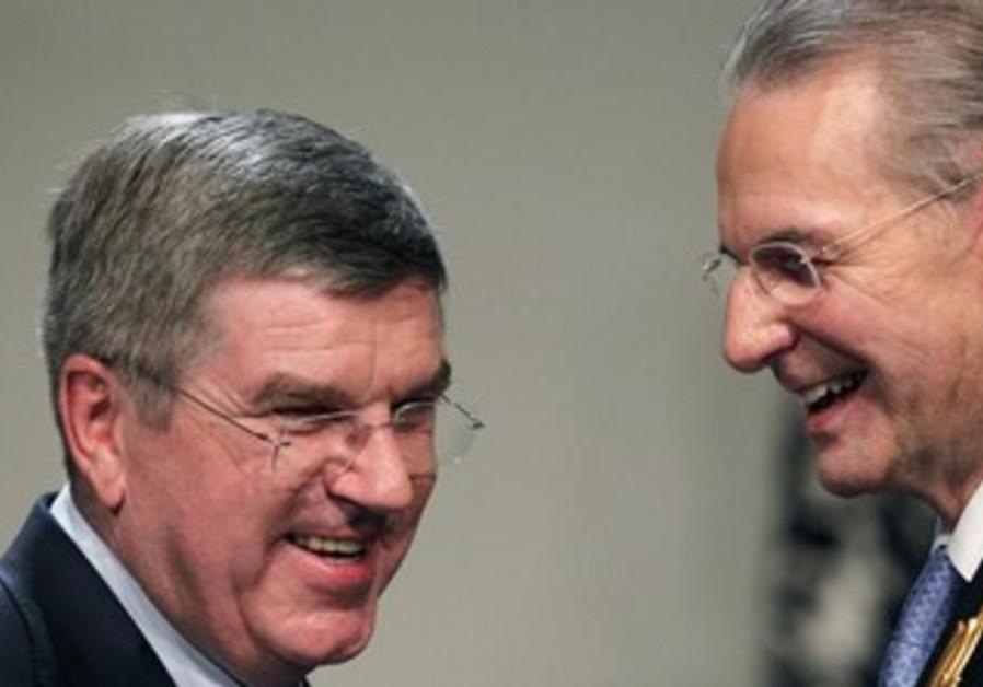 Incoming IOC chief Thomas Bach and Jacques Rogge