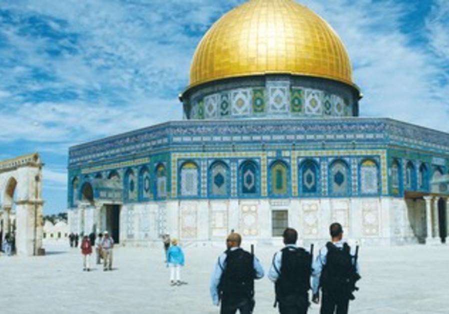 Police patrol near the Temple Mount