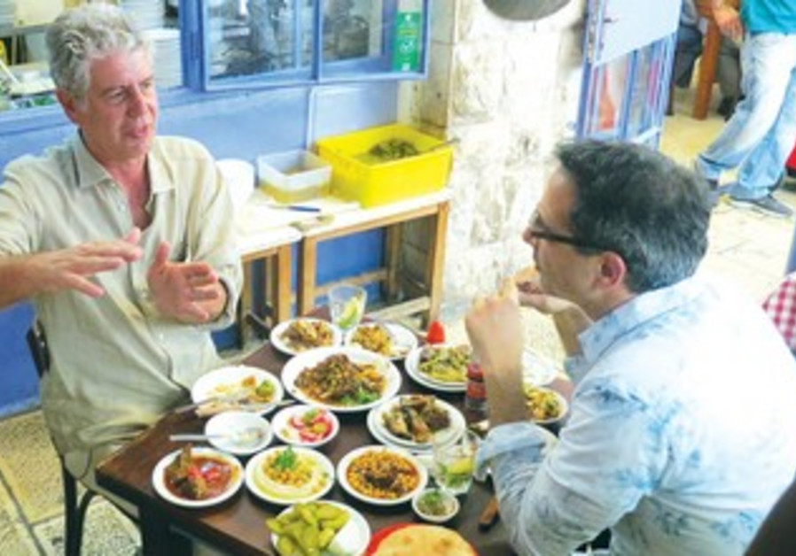 Anthony Bourdain in a Jerusalem restaurant