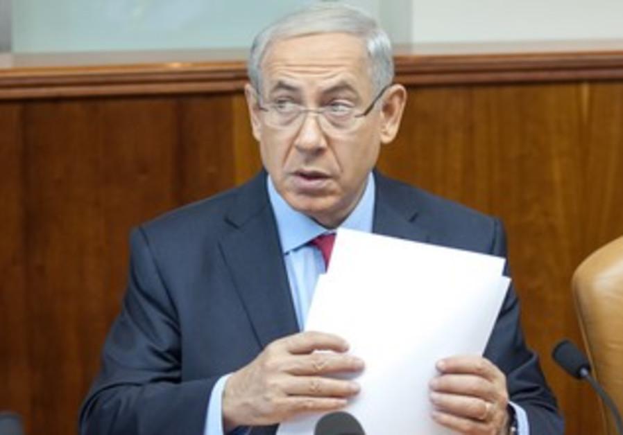 Prime Minister Binyamin Netanyahu attending the weekly cabinet meeting in Jerusalem, Sept. 17, 2013.