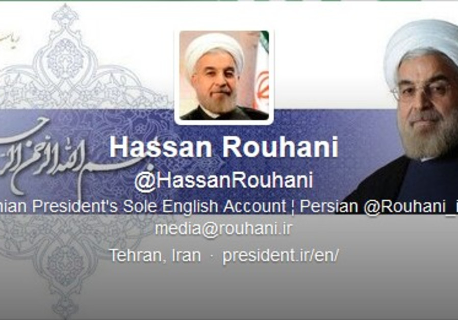A screenshot from a Twitter account claiming to be that of Iranian President Hassan Rouhani.