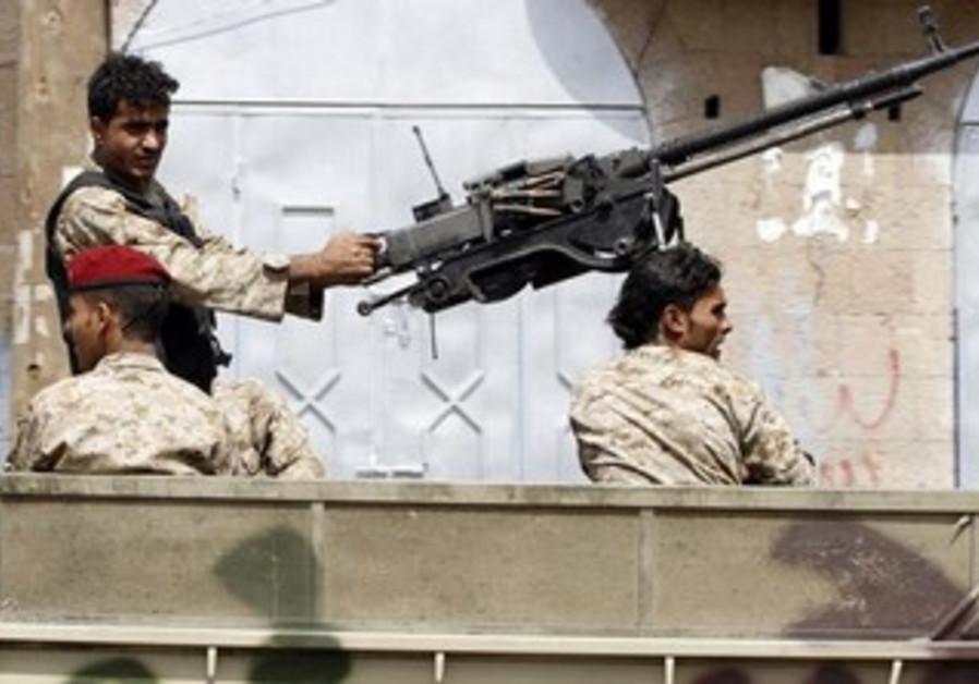Soldiers during a patrol in Sanaa, Yemen.