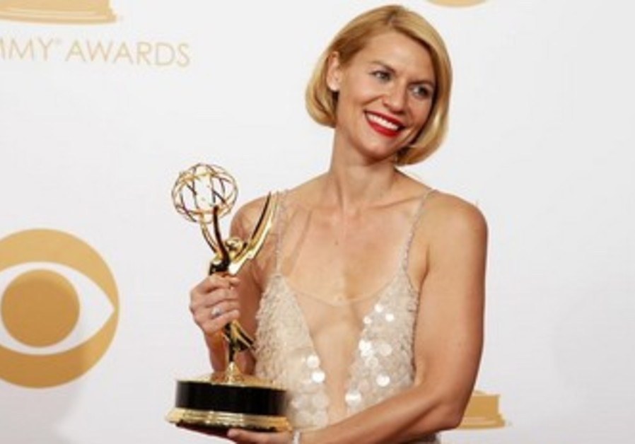 Claire Danes 'Homeland' poses backstage at Emmy Awards