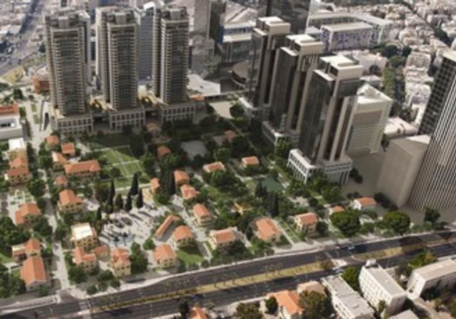 A render showing a renovated Sarona, surrounding development