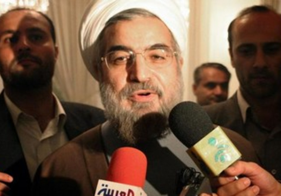 Iranian President Hassan Rouhani speaking to reporters [file].