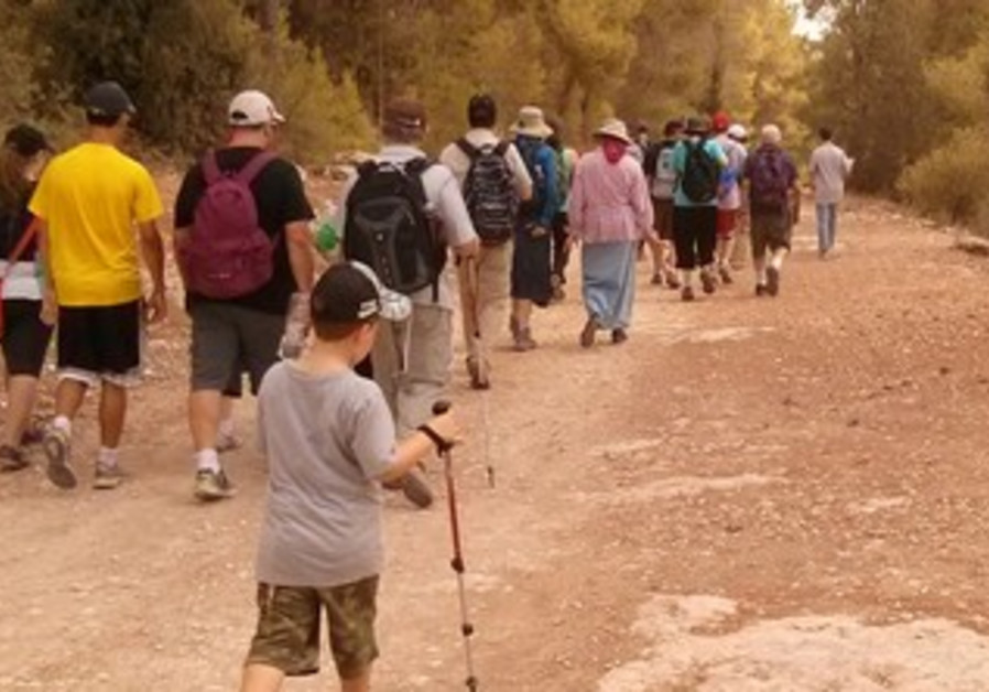 Participants in the Kilometers for Koby hike.