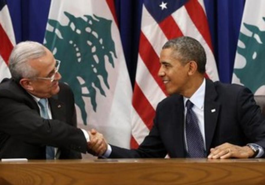 US President Barack Obama meets with Lebanese President Michel Sleiman, September 24, 2013.