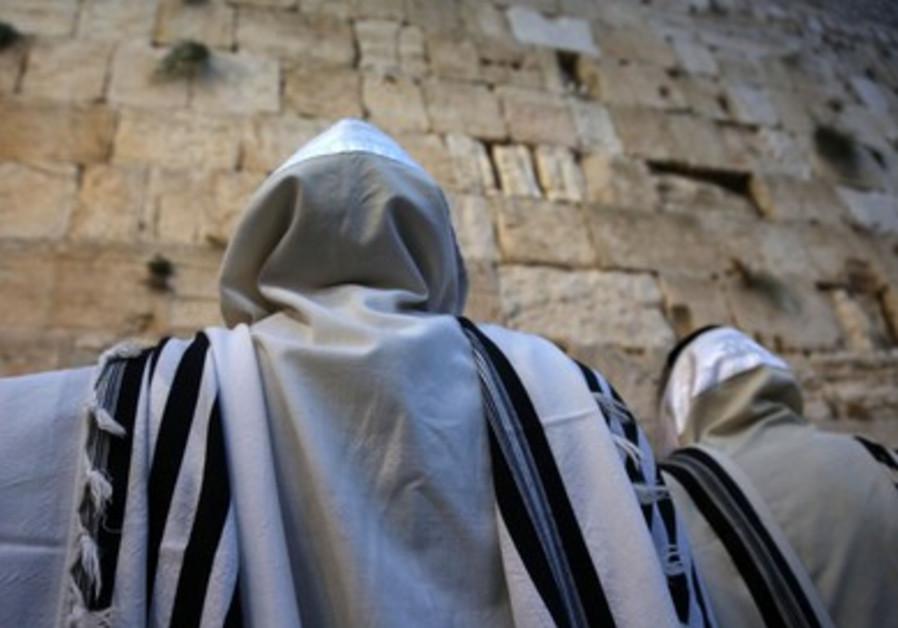 Succot prayers at the Western Wall.