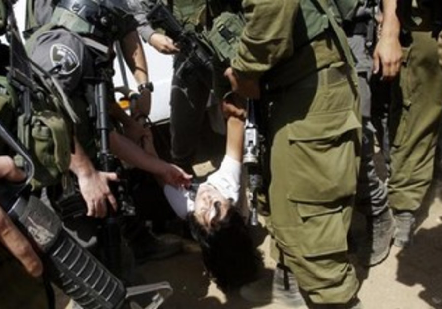 French diplomat Marion Castaing after being removed from her truck by IDF, Sept 20, 2013.