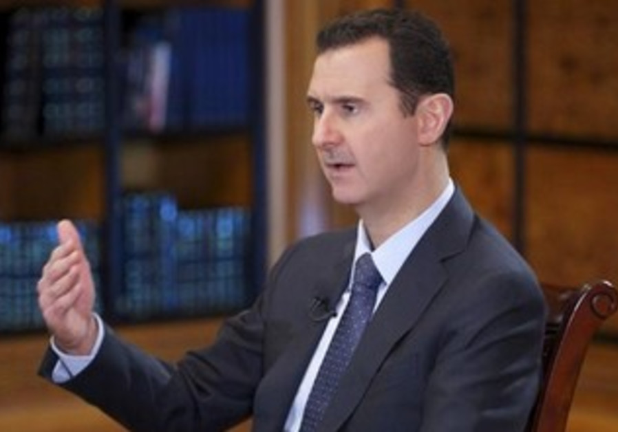 Syrian President Bashar Assad giving an interview to Venezuelan state television TeleSUR, Sept. 26.