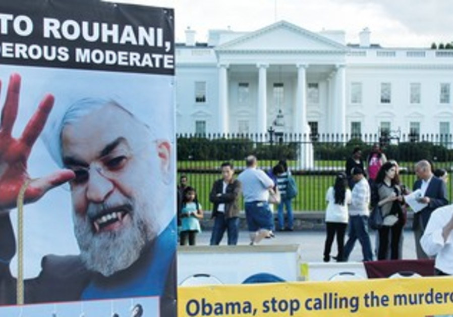 A protest against US policies on Iran outside the White House.