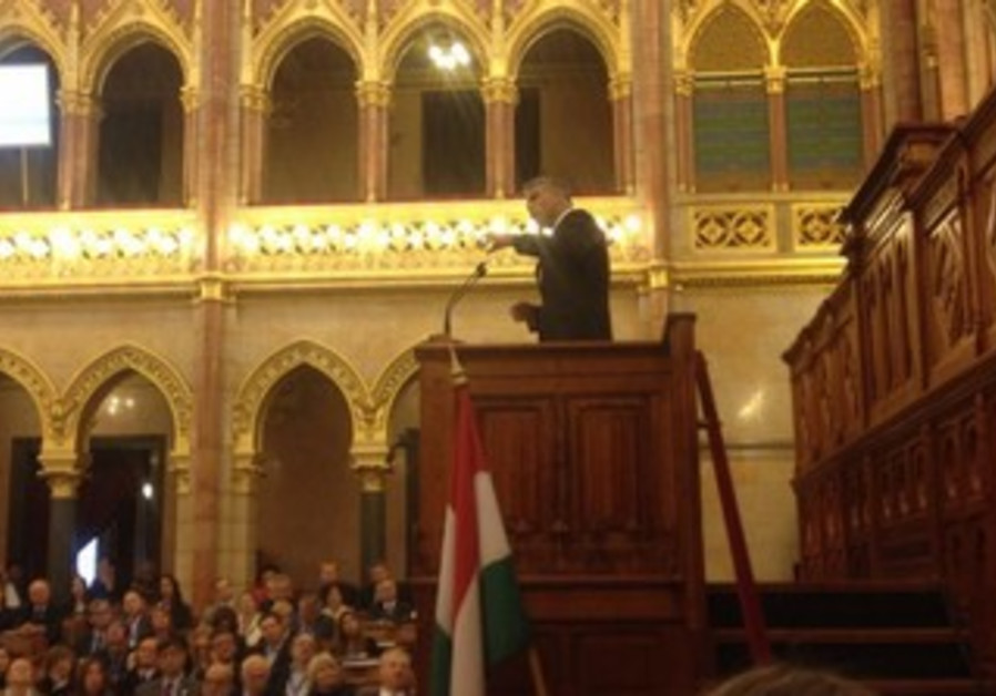 Finance Minister Yair Lapid addresses Hungarian Parliament
