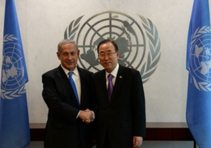 Prime Minister Binyamin Netanyahu and UN Secretary-General Ban Ki-moon, October 1, 2013.