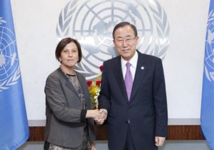 Meretz leader Zahava Gal-On and UN Secretray