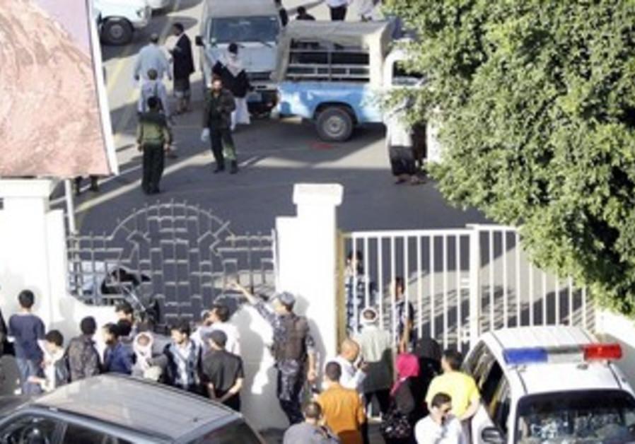 A supermarket carpark where al-Qaida militants shot at German envoy, Sanaa October 6, 2013.