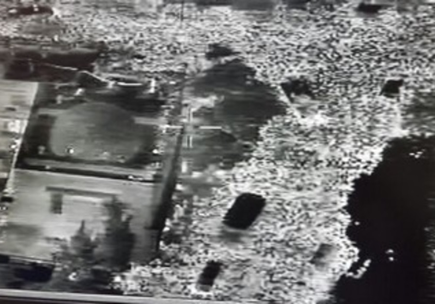 Infrared image taken from police helicopter shows density of mourners at Yosef funeral