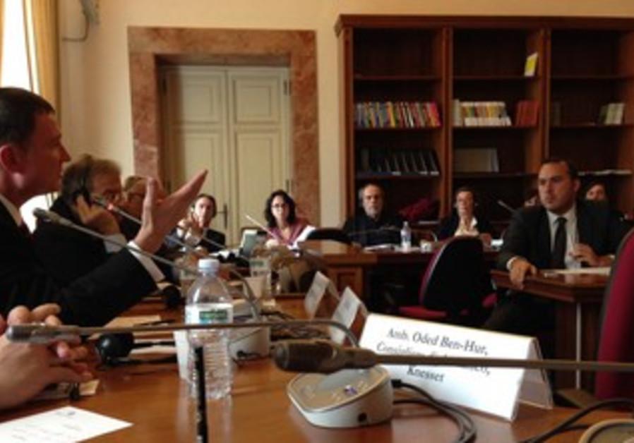Knesset Speaker Yuli Edelstein addresses Italian parliamentarians