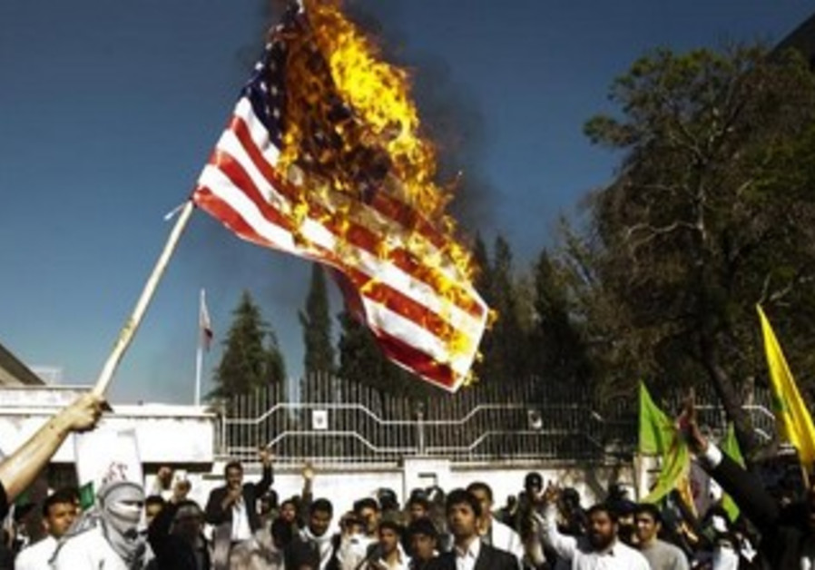 Iranian students burn US flag [file]