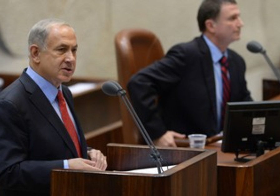 Netanyahu speaks at the Knesset during a special Yom Kippur War ceremony on October 15, 2013.