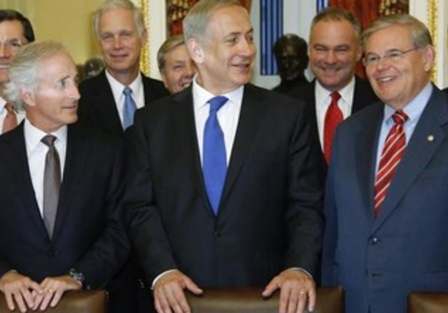 PM Netanyahu and Senators Robert Menendez and Bob Corker