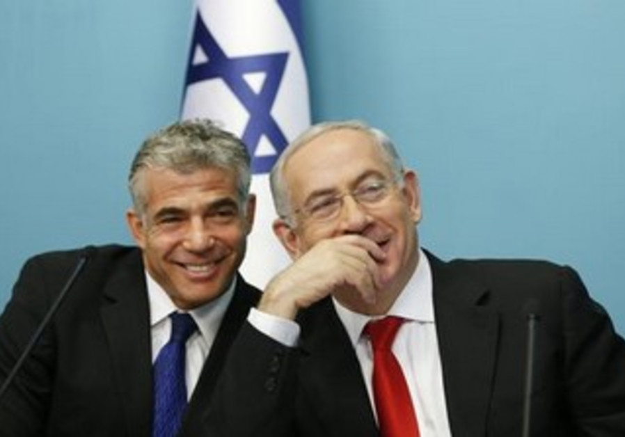 Finance Minister Yair Lapid and Prime Minister Binyamin Netanyahu.