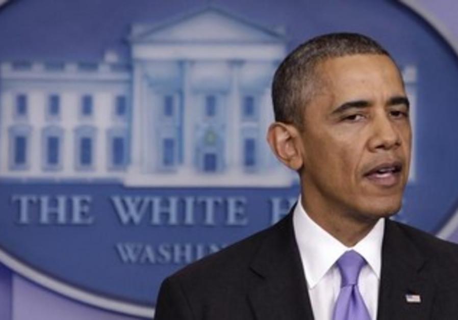 US President Barack Obama briefing press about gov't shutdown, October 16, 2013.