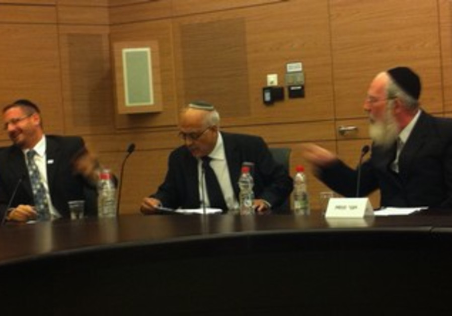 MKs Yisrael Eichler and Dov Lipman argue in the Knesset , October 16, 2013