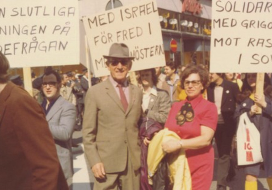 Israel and Miriam Michelson at a rally in support of Soviet Jewry, Stockholm, 1972