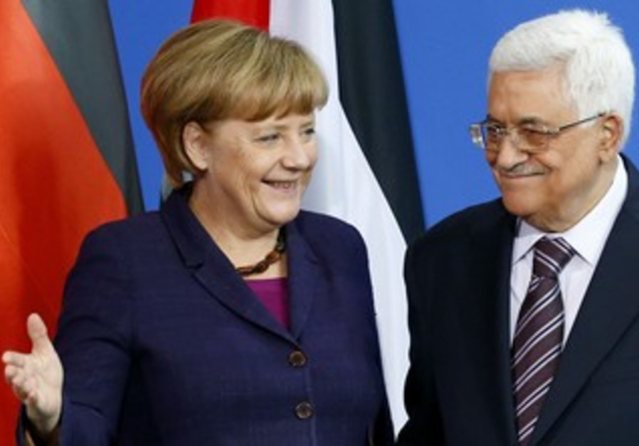 German Chancellor Angela Merkel hosts PA President Abbas in Berlin, October 18, 2013