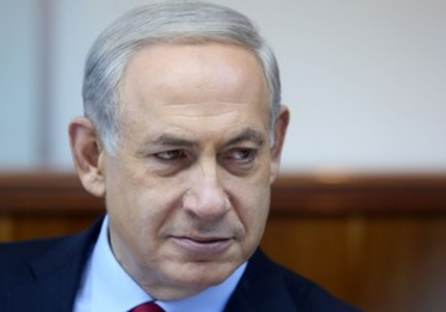 Prime Minister Binyamin Netanyahu at the weekly cabinet meeting, October 20, 2013.